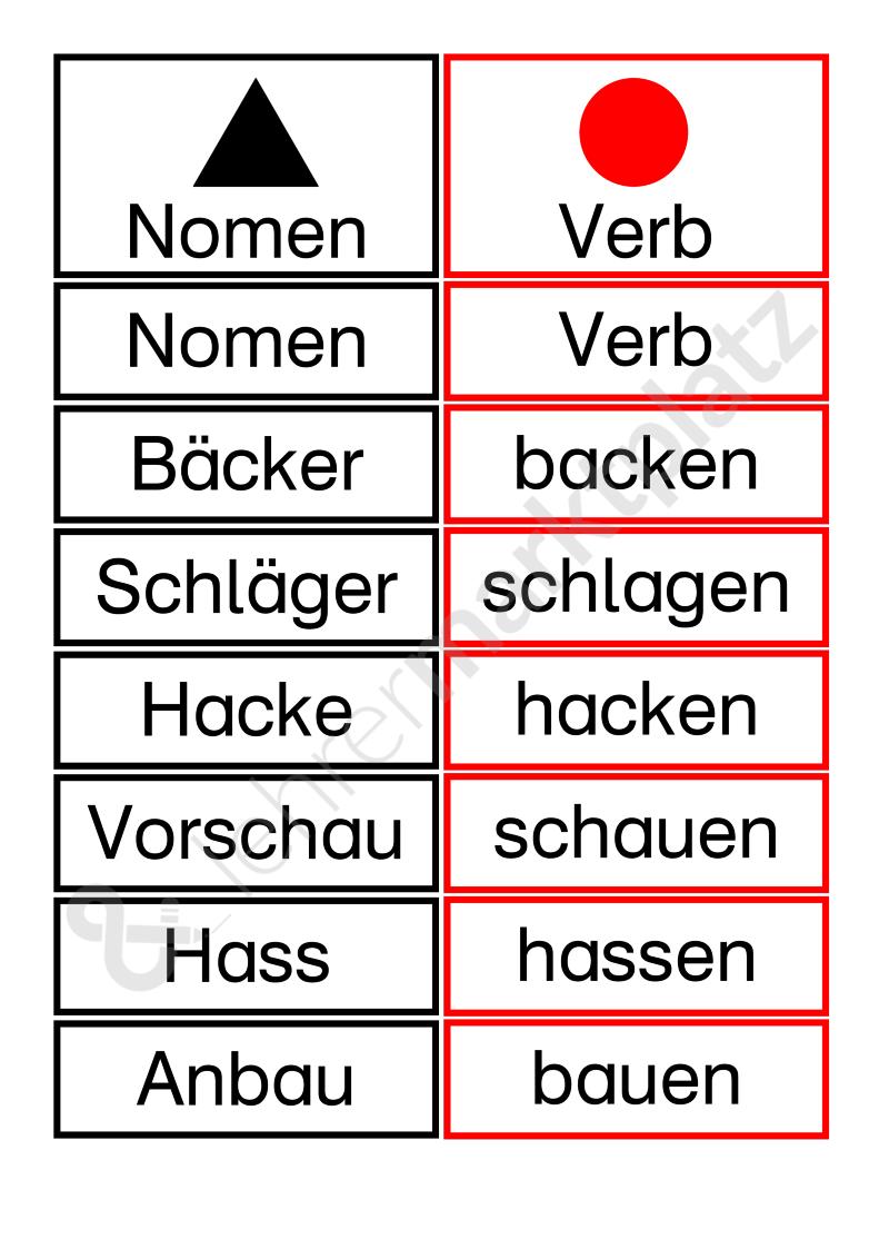 Paare Bilden Mit Nomen Und Verb Seite 1 Verben Wortarten Nomen