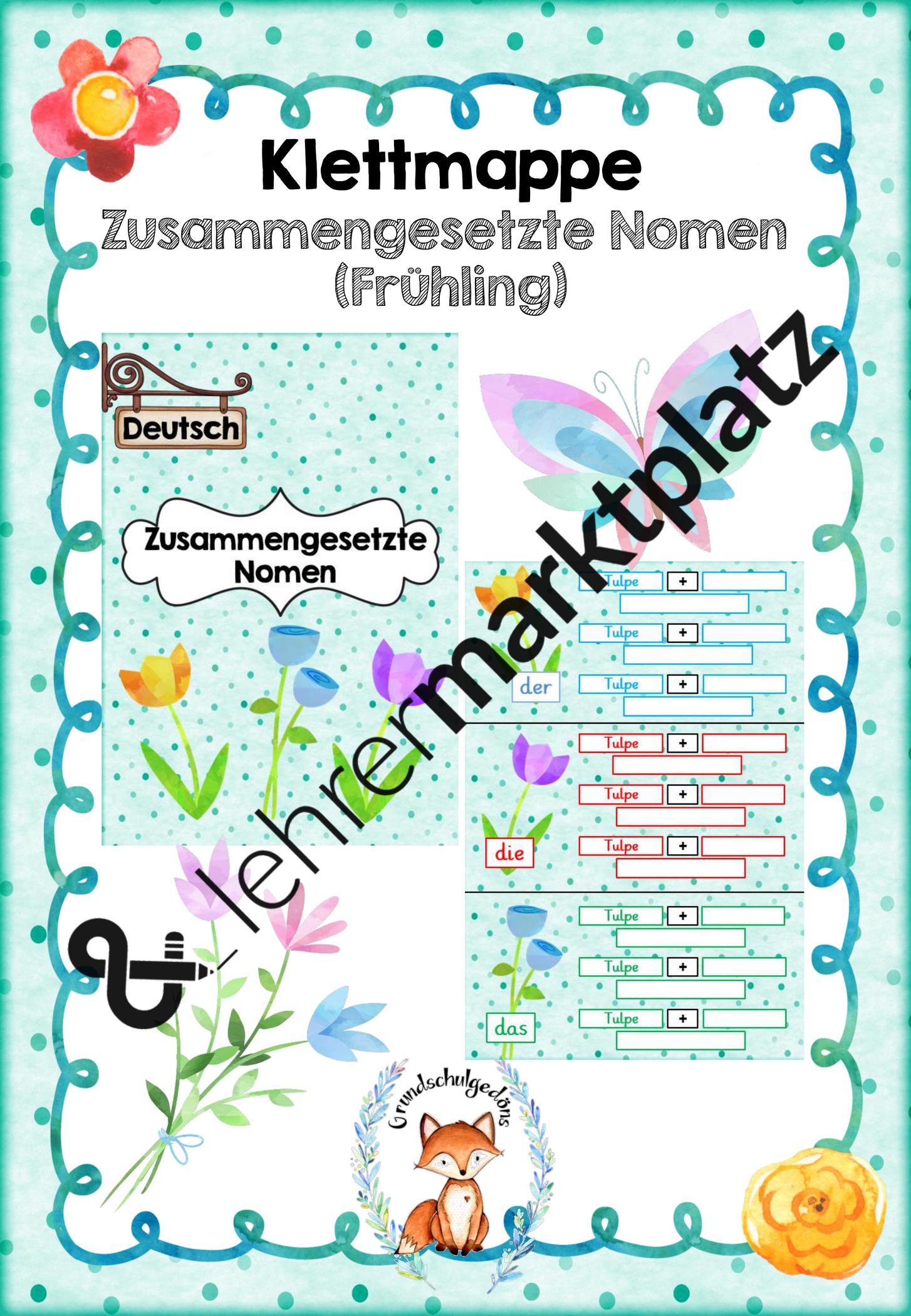 Klettmappe Zusammengesetzte Nomen Fruhling Unterrichtsmaterial In Den Fachern Daz Daf Deutsch Zusammengesetzte Nomen Nomen Daf