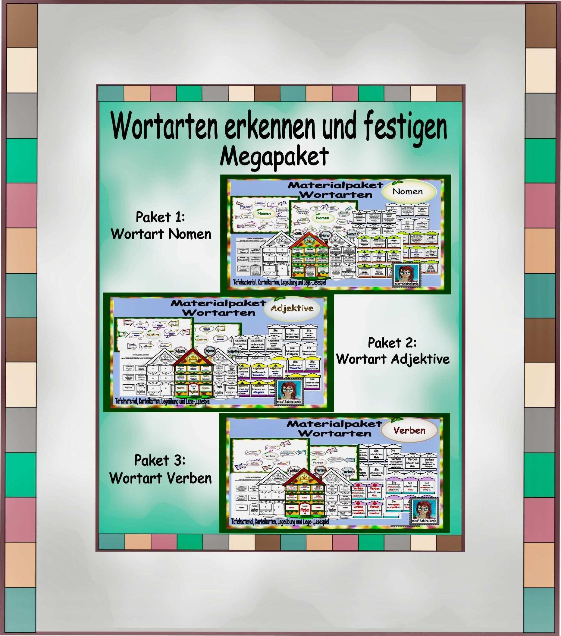 Wortarten Erkennen Und Festigen Megapaket Nomen Verben Und Adjektive Wortarten Adjektive Nomen Verben Adjektive