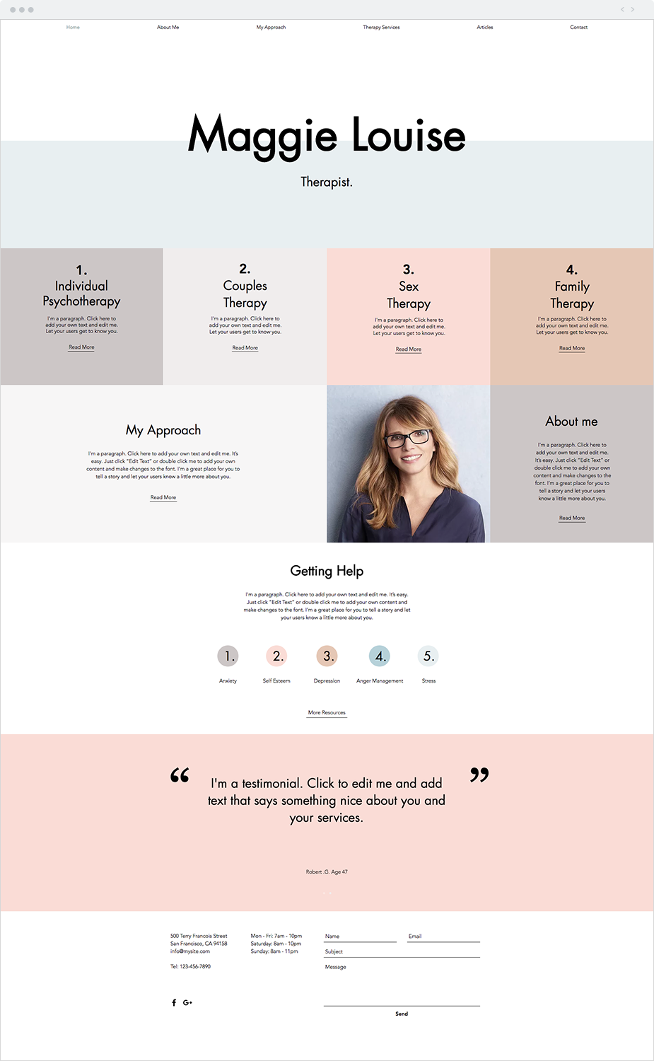 Therapy Services Website Template Blog Layout Design Wix Templates Homepage Design