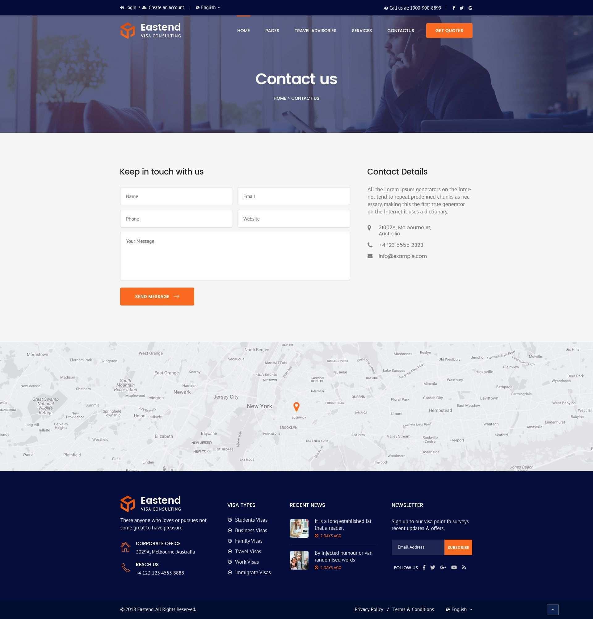 Eastend Visa Immigration Consulting Psd Template Immigration Visa Eastend Template Contact Us Page Design Corporate Web Design Psd Templates