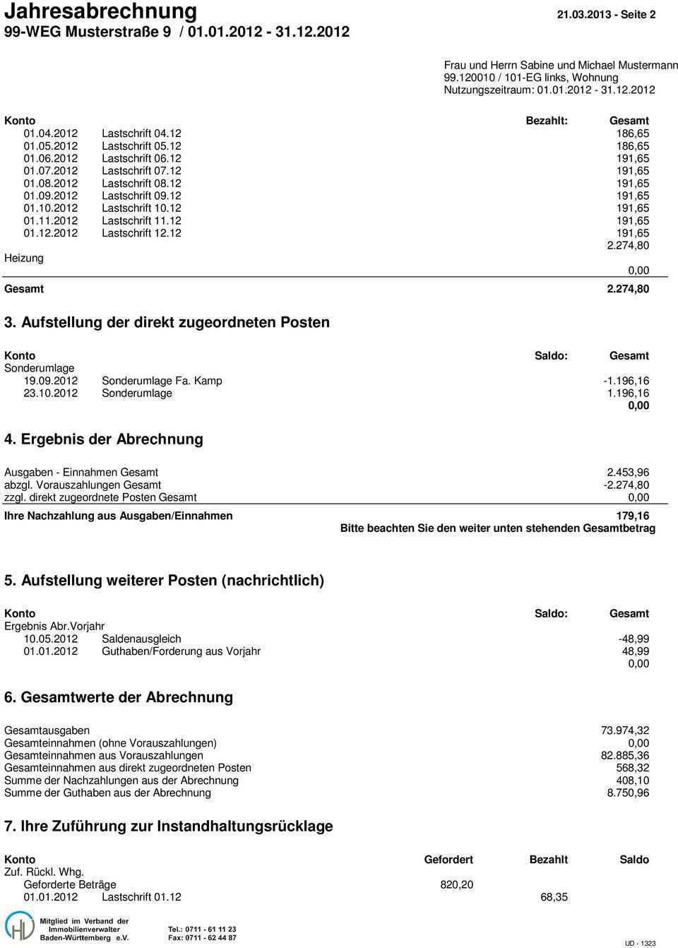 Jahresabrechnung Seite 1 99 Weg Musterstrasse 9 Pdf Kostenfreier Download