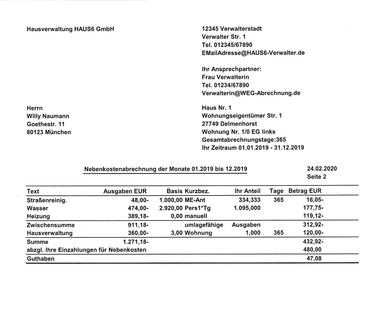 Muster Einer Hausgeldabrechnung Fur Wohnungseigentumer