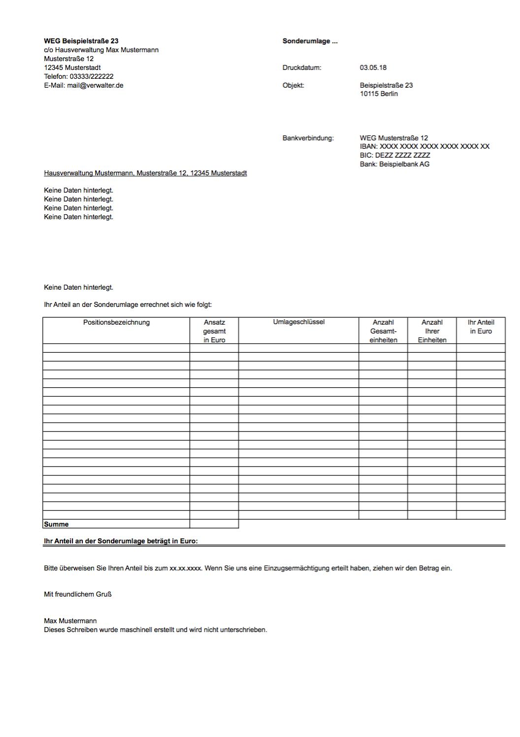 Excel Vorlage Sonderumlage Weg Nebenkosten Blog De