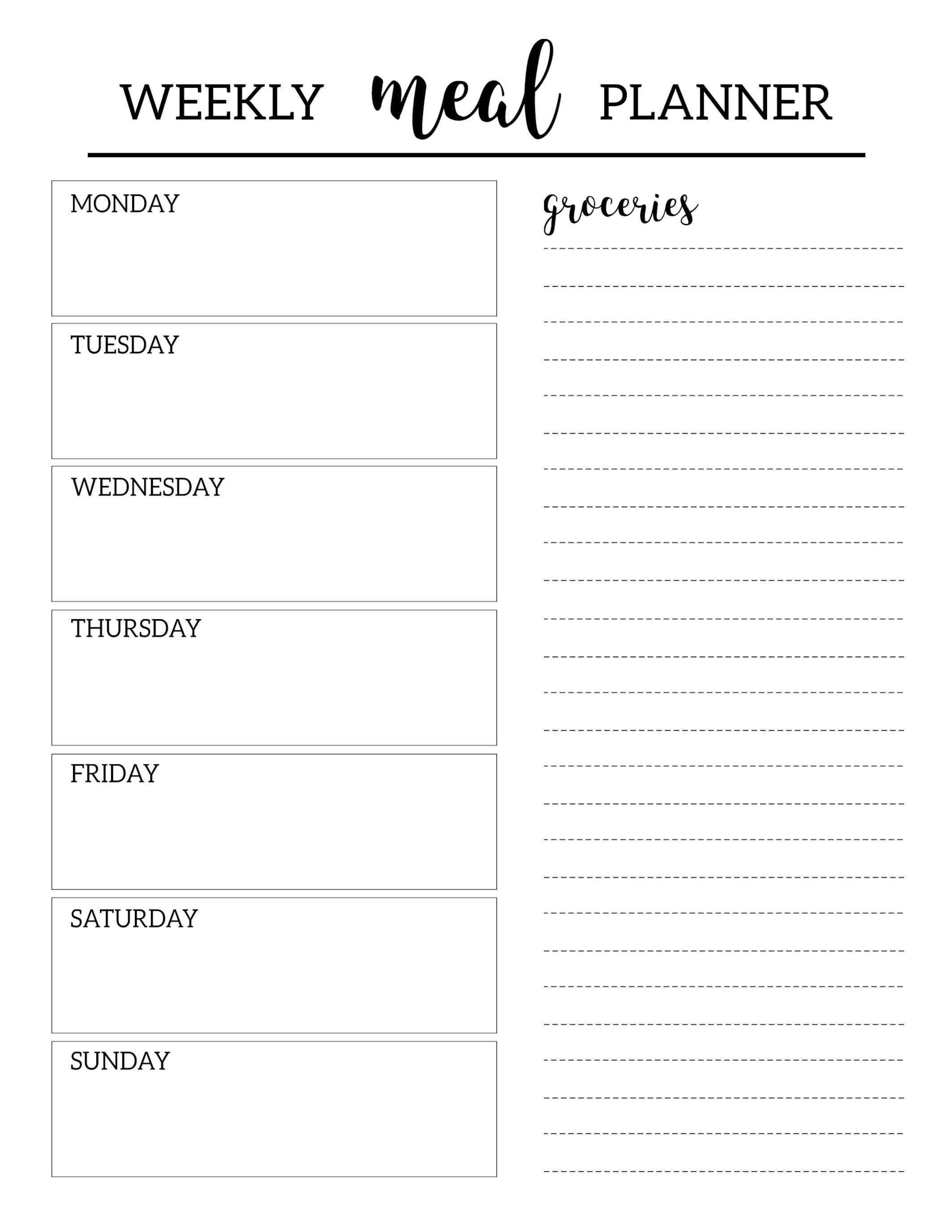 Printable Template Planner Free Mealfree Printable Meal Planner Template Wochentliche Mahlzeit Planer Menuplanung Vorlagen Planer Vorlagen