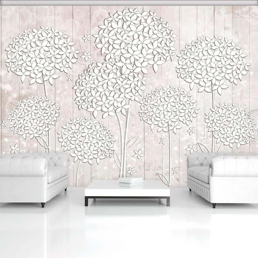 Poster Tapete Fototapete Wandbild Weiss Creme Blumen Holz Natur Kunst 3502 P8 Weisse Tapete Tapeten Wandbilder