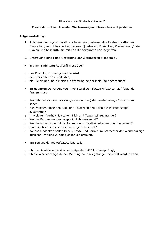 Werbung Klassenarbeit Deutsch Analyse Werbeanzeige Klasse 7 Unterrichtsmaterial Im Fach Deutsch Klassenarbeiten Werbeanzeigen Aufgabenstellung