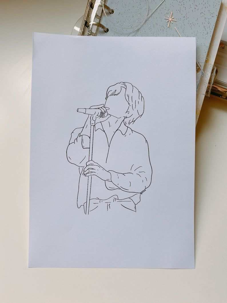 Bts Magic Shop Muster Pied Piper Jungkook A5 Art Print Embroidered Canvas Art Line Art Drawings Outline Art