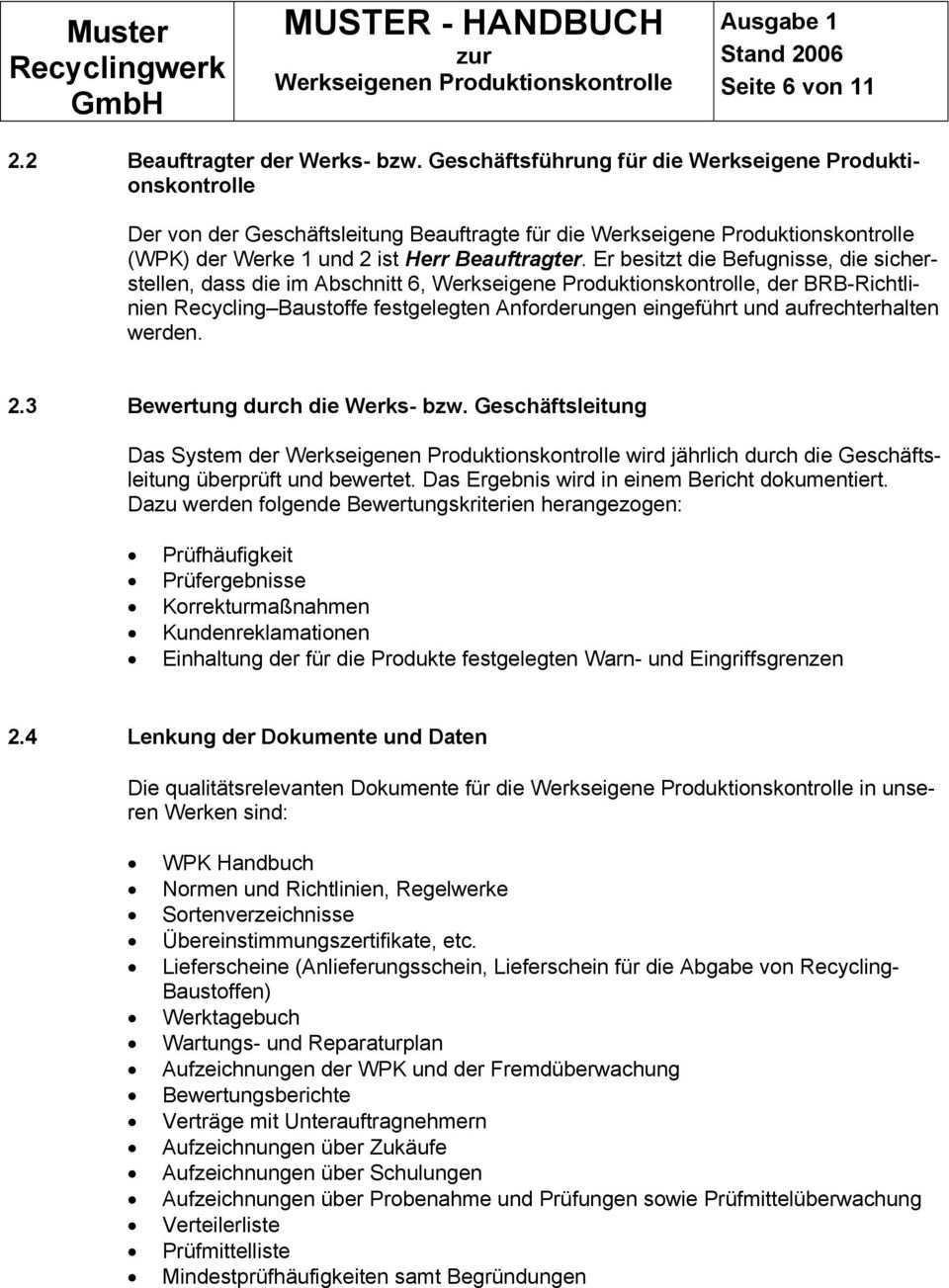 Muster Handbuch Zur Werkseigenen Produktionskontrolle Musterhandbuch Werkseigene Produktionskontrolle Wpk Pdf Free Download
