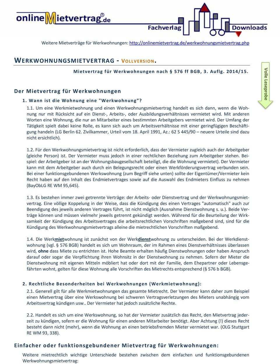 Werkwohnungsmietvertrag Vollversion Pdf Kostenfreier Download