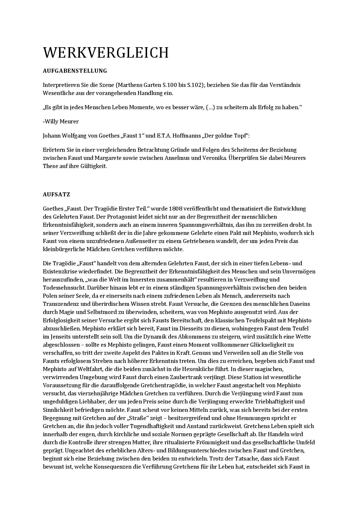 Abitur Deutsch Vergleich Zwischen Faust Und Der Goldne Topf Docsity