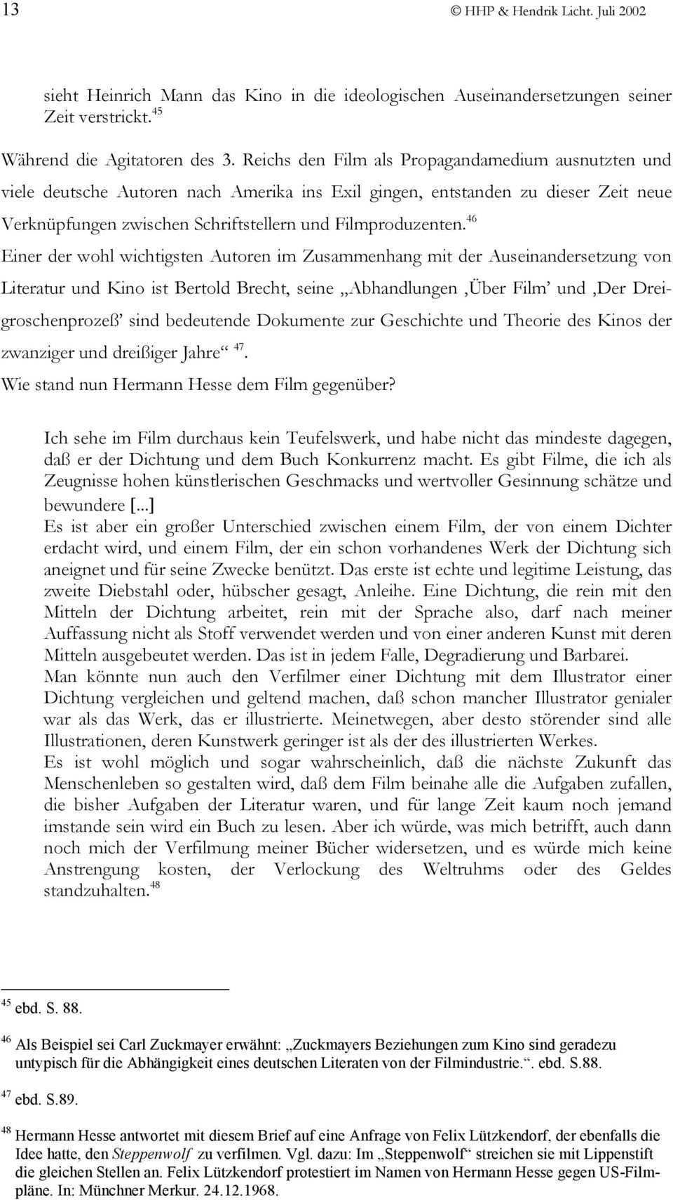 Referat Zum Thema Verfilmung Der Erzahlung Der Steppenwolf Von Hermann Hesse Pdf Free Download