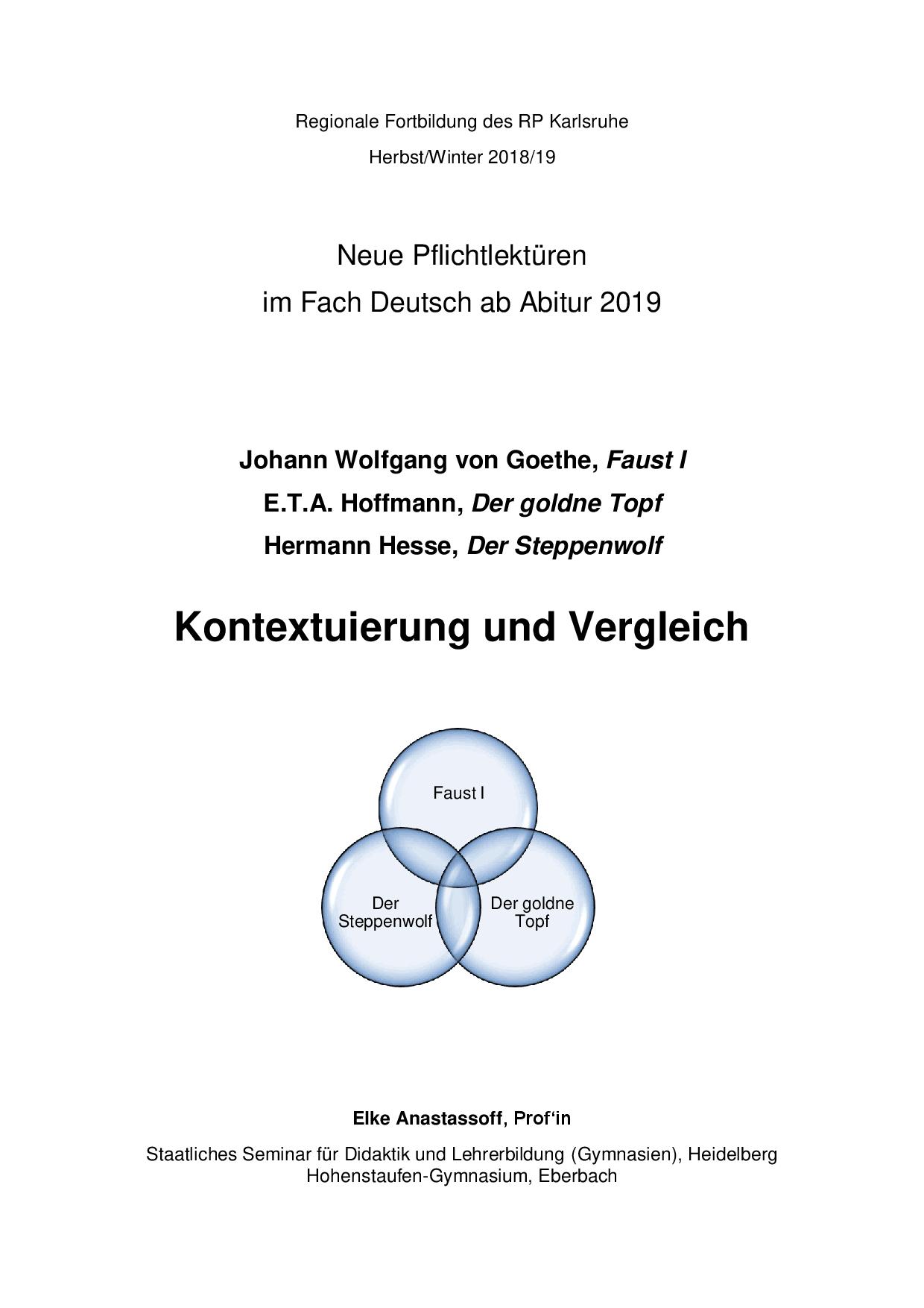 Kontextuierung Und Vergleich Faust I Der Goldne Topf Und Der Steppenwolf Docsity