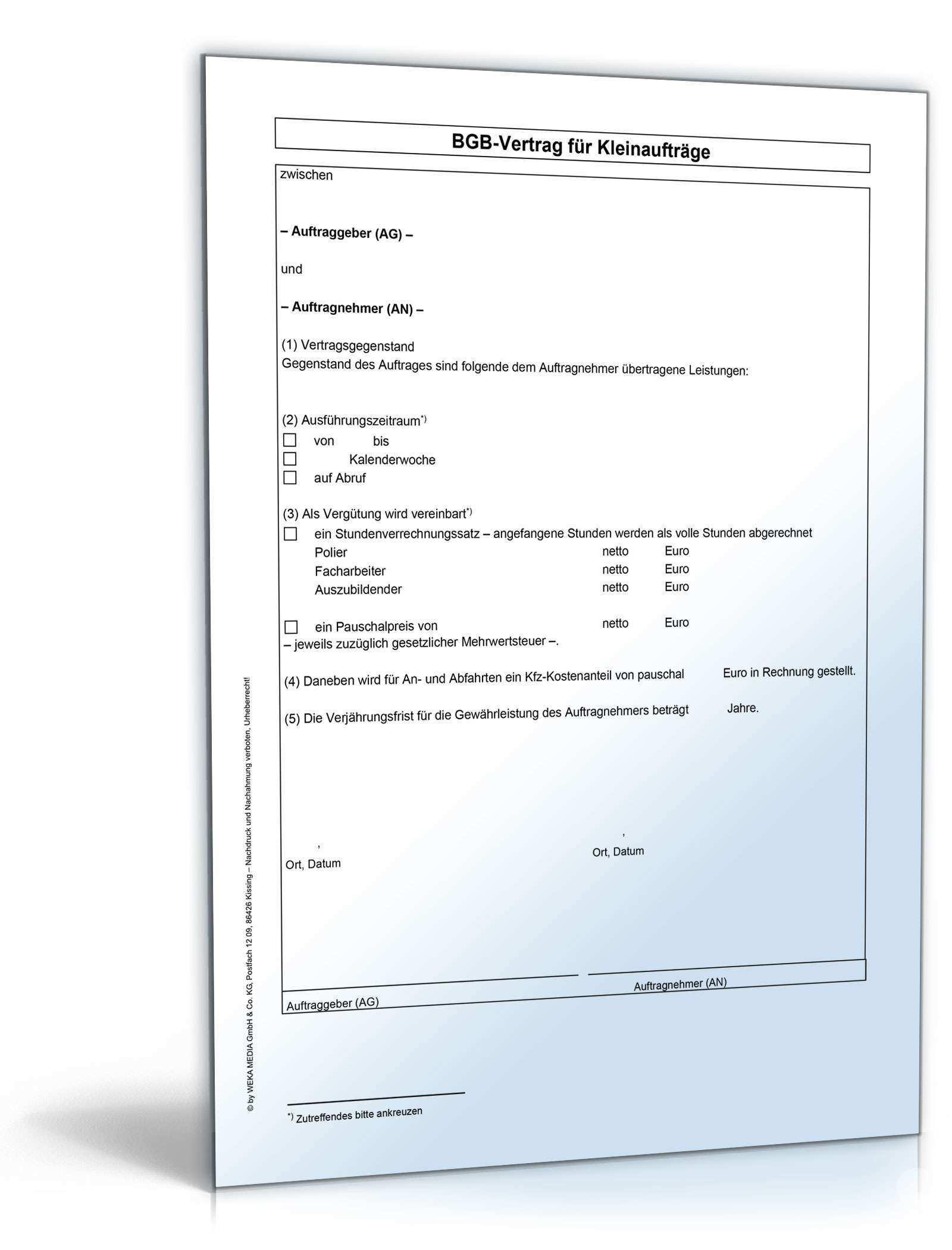 Weka Bgb Bauvertrag Vorlage Kleinauftrag Zum Download