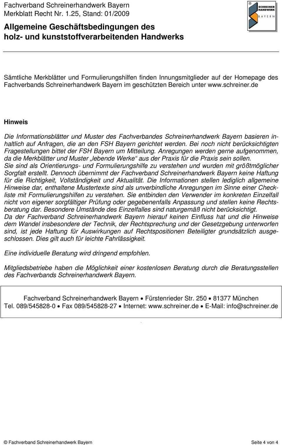 Allgemeine Geschaftsbedingungen Holz Und Kunststoffverarbeitenden Handwerks Pdf Kostenfreier Download