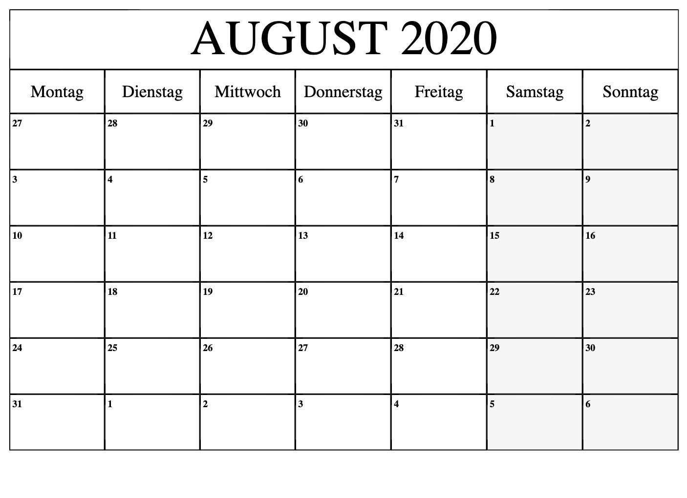 Kalender August 2020 Zum Ausdrucken Kostenlos Nosuvia Com Free Printable Calendar Printable Calendar Calendar