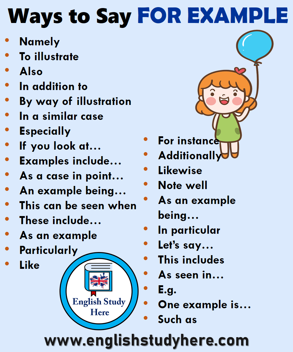 28 Ways To Say For Example In English English Study Here Essay Writing Skills English Writing Skills Writing Words