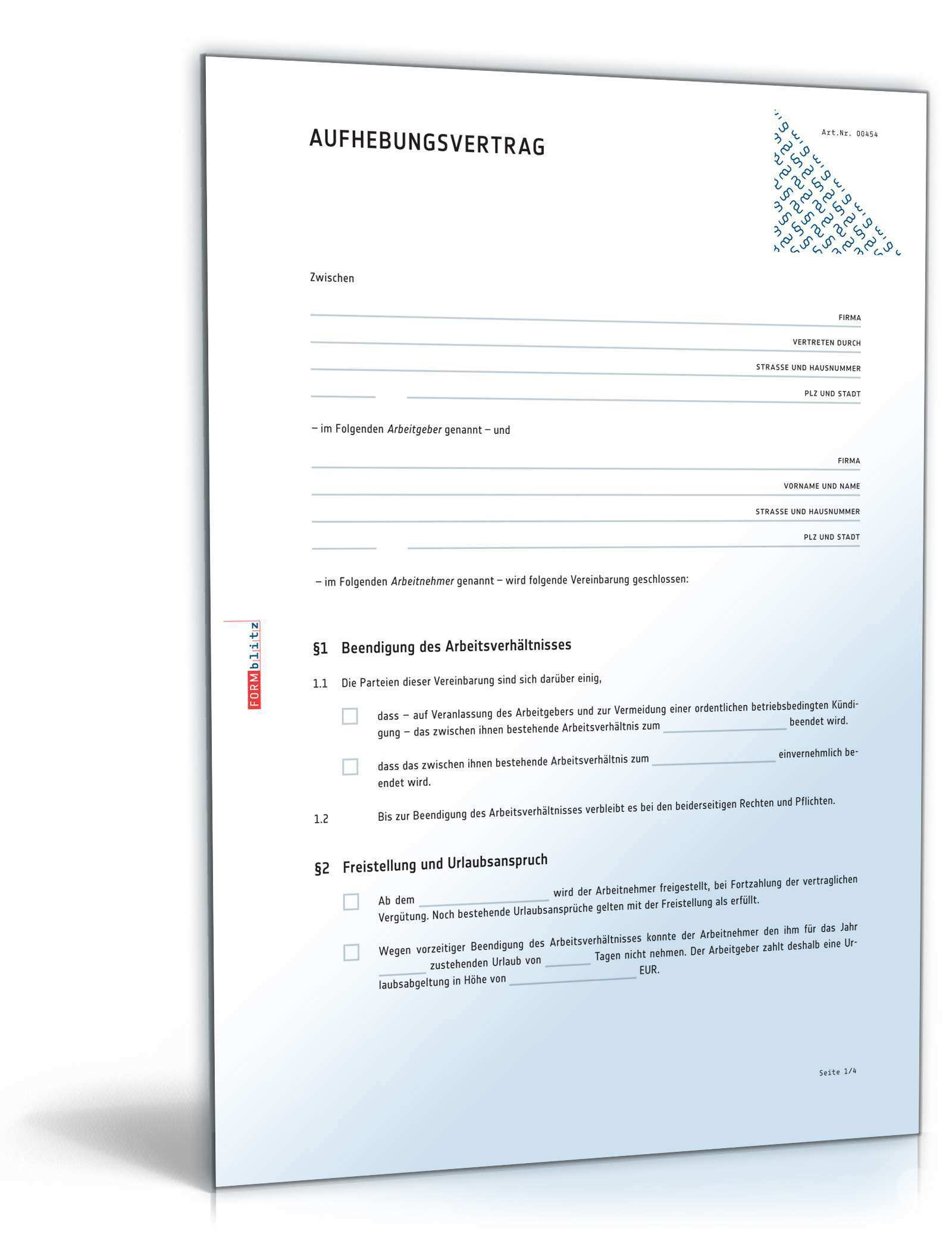 Aufhebungsvertrag Arbeitsverhaltnis Muster Zum Download