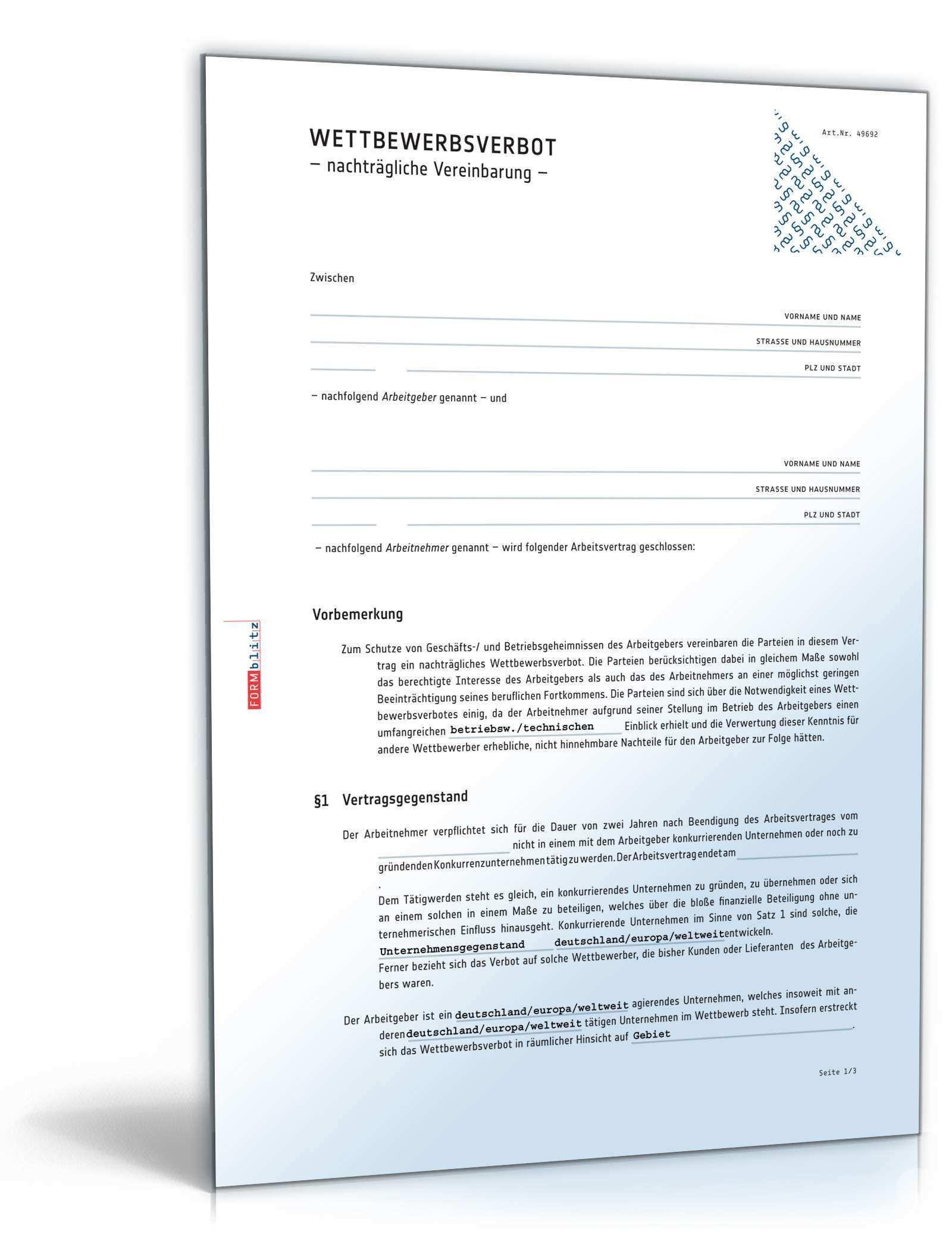 Nachvertragliches Wettbewerbsrecht Muster Vorlage Zum Download