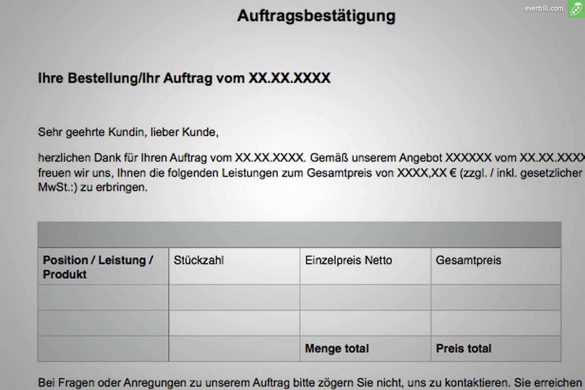Auftragsbestatigung Muster Und Gratis Word Vorlage Everbill Magazin