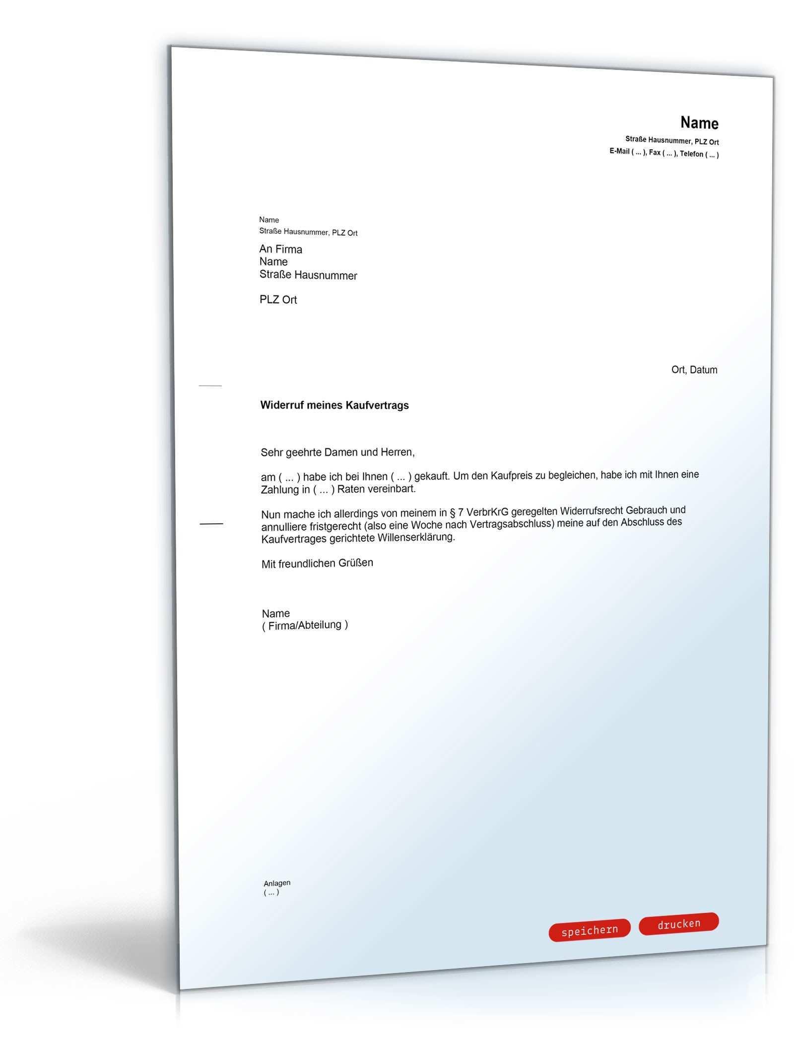 Widerruf Kaufvertrag Mit Ratenzahlung Muster Vorlage Zum Download