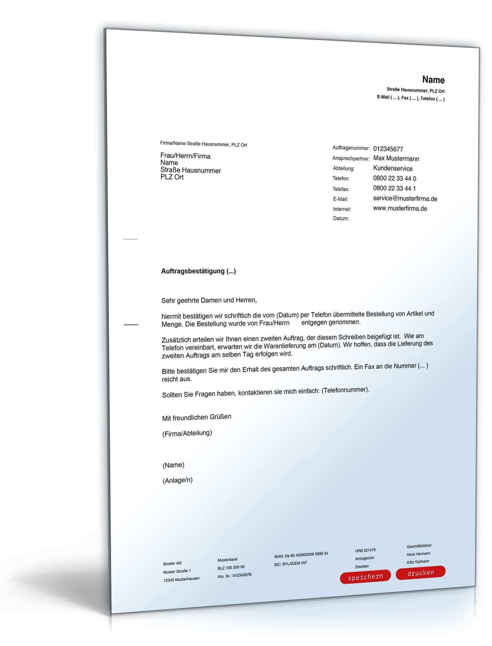 Bestatigung Telefonischer Auftrag Vorlage Zum Download
