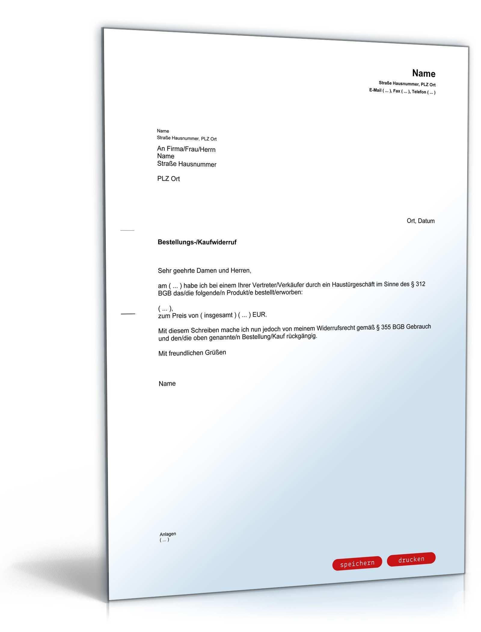 Widerruf Hausturgeschaft Muster Vorlage Zum Download