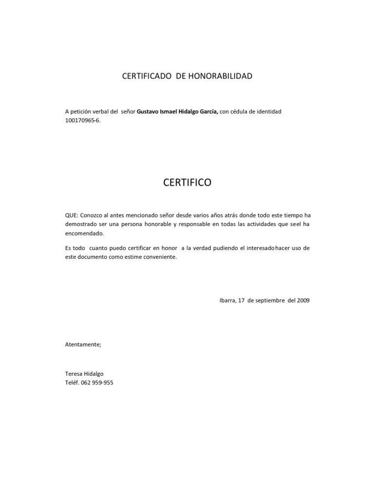 Certificado De Honorabilidad Ecuador Certificado De Honorabilidad Certificado Verdades