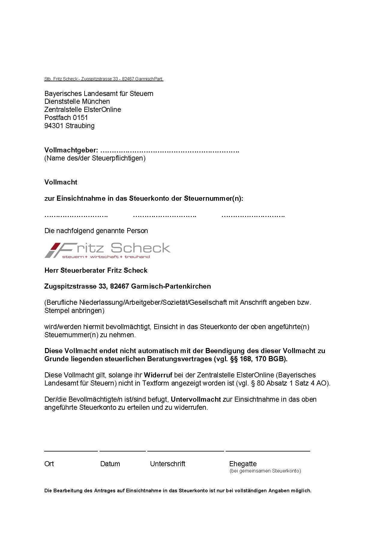 Vollmacht Zum Abruf Ihres Steuerkonto Beim Finanzamt Steuerberater Garmisch Partenkirchen Steuerkanzlei Scheck