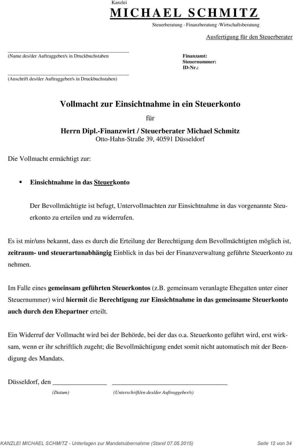 Benotigte Unterlagen Zur Mandatsubernahme Pdf Kostenfreier Download