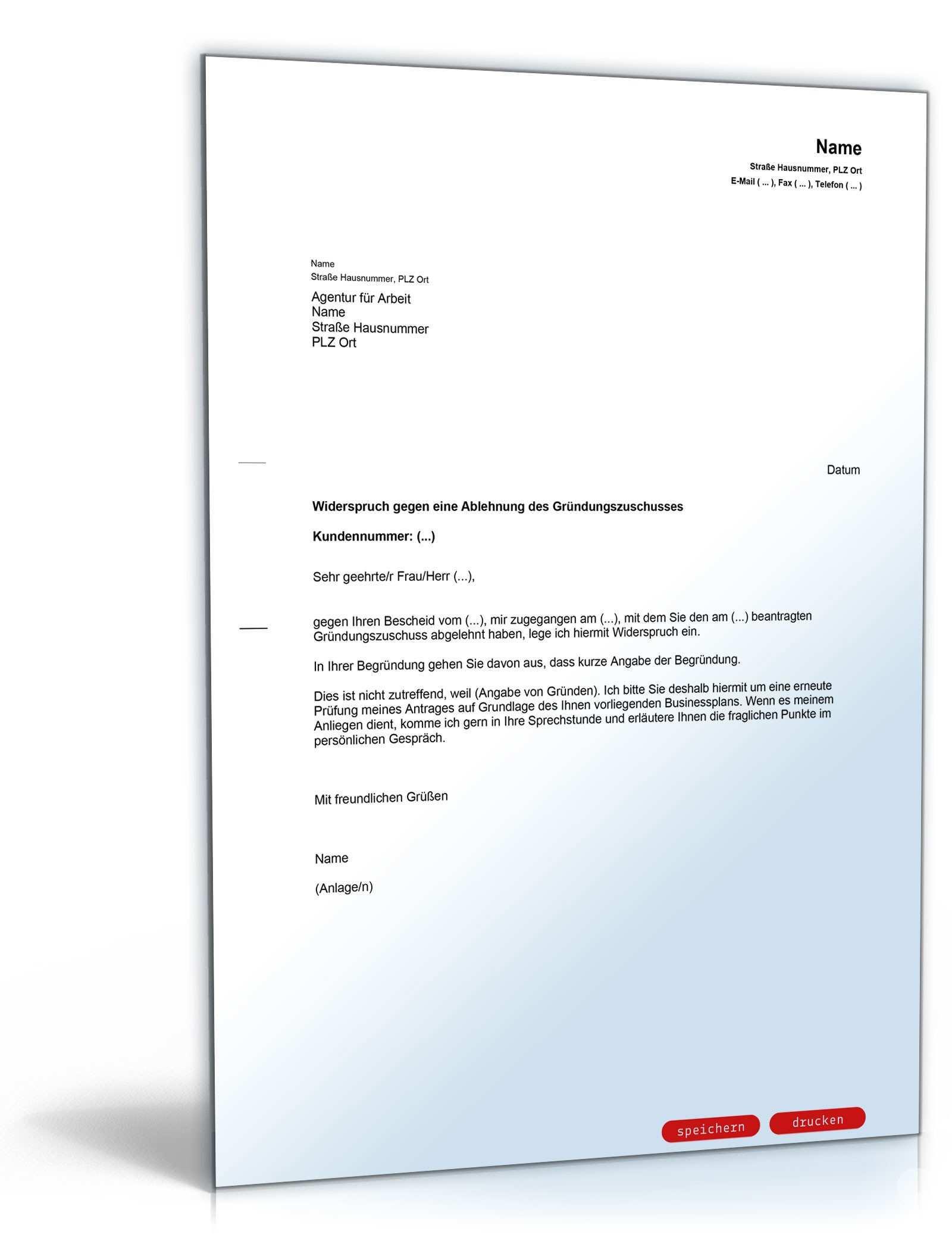 Widerspruch Ablehnung Grundungszuschuss Muster Zum Download