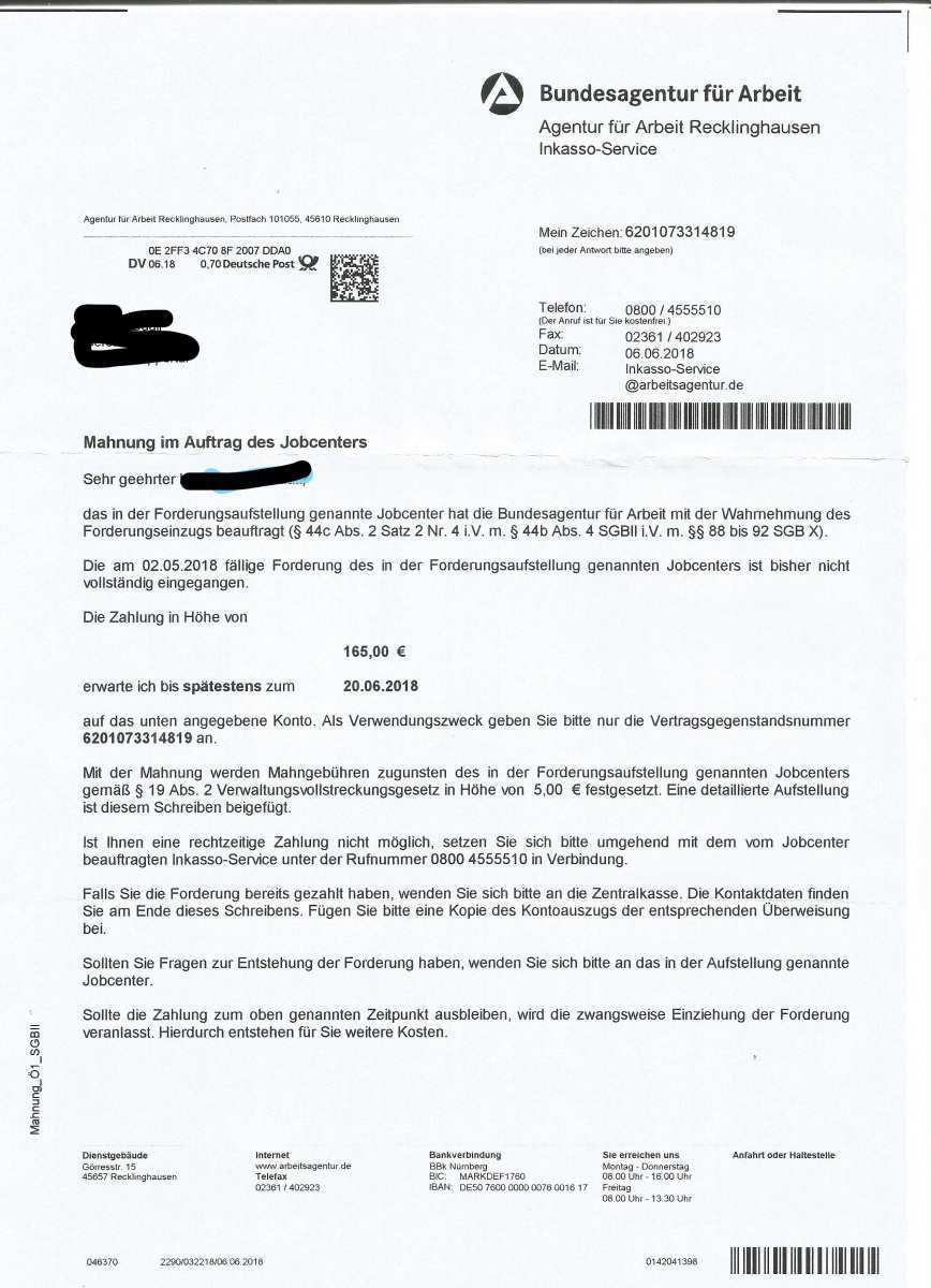 Inkasso Agentur Fur Arbeit Trotz Widerspruch Erwerbslosenforum Deutschland