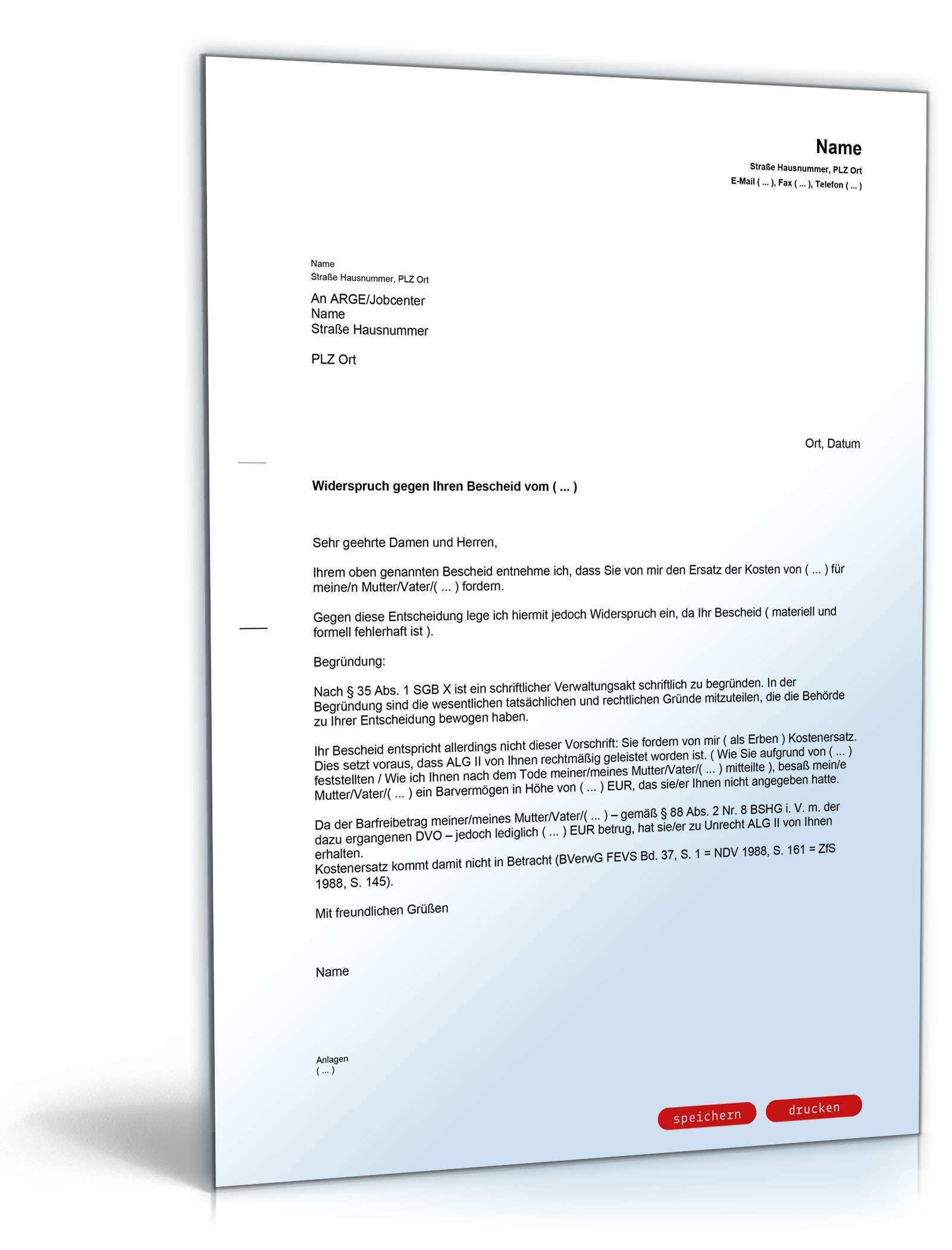 Widerspruch Ruckzahlung Alg Ii Fur Angehorige Vorlage Zum Download