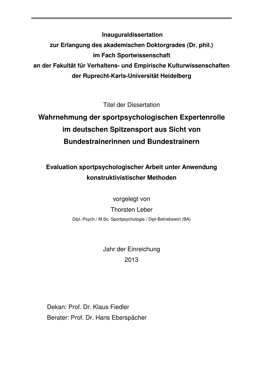 Pdf Wahrnehmung Der Sportpsychologischen Expertenrolle Im Deutschen Spitzensport Aus Der Sicht Von Bundestrainerinnen Und Bundestrainern