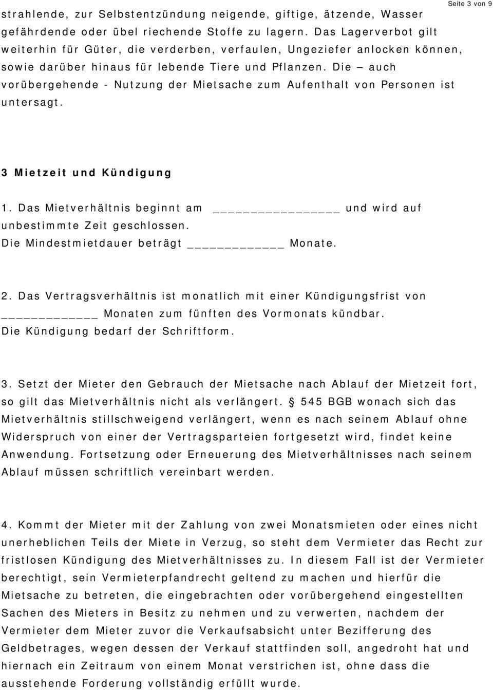 Mietvertrag Lagerraum Pdf Free Download