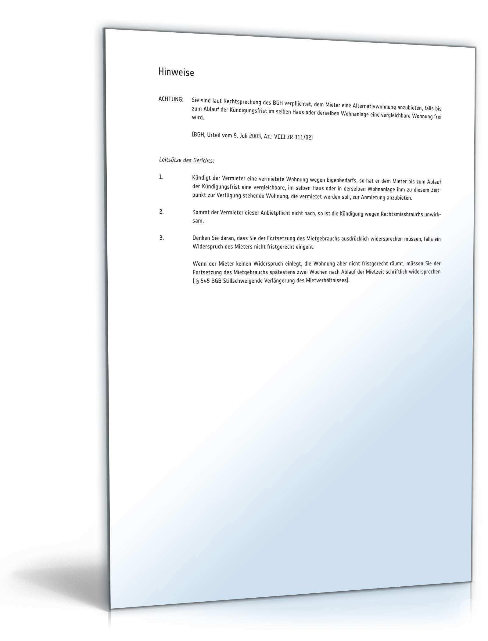 Kundigung Mietvertrag Eigenbedarf Muster Zum Download