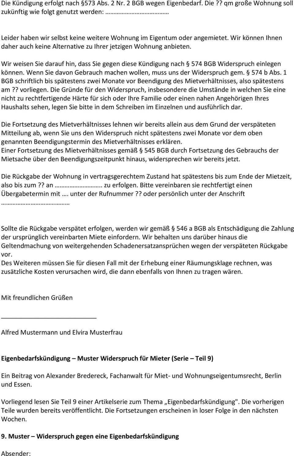 Eigenbedarfskundigung Von Wem Kann Eigenbedarf Geltend Gemacht Werden Serie Teil 1 Pdf Free Download