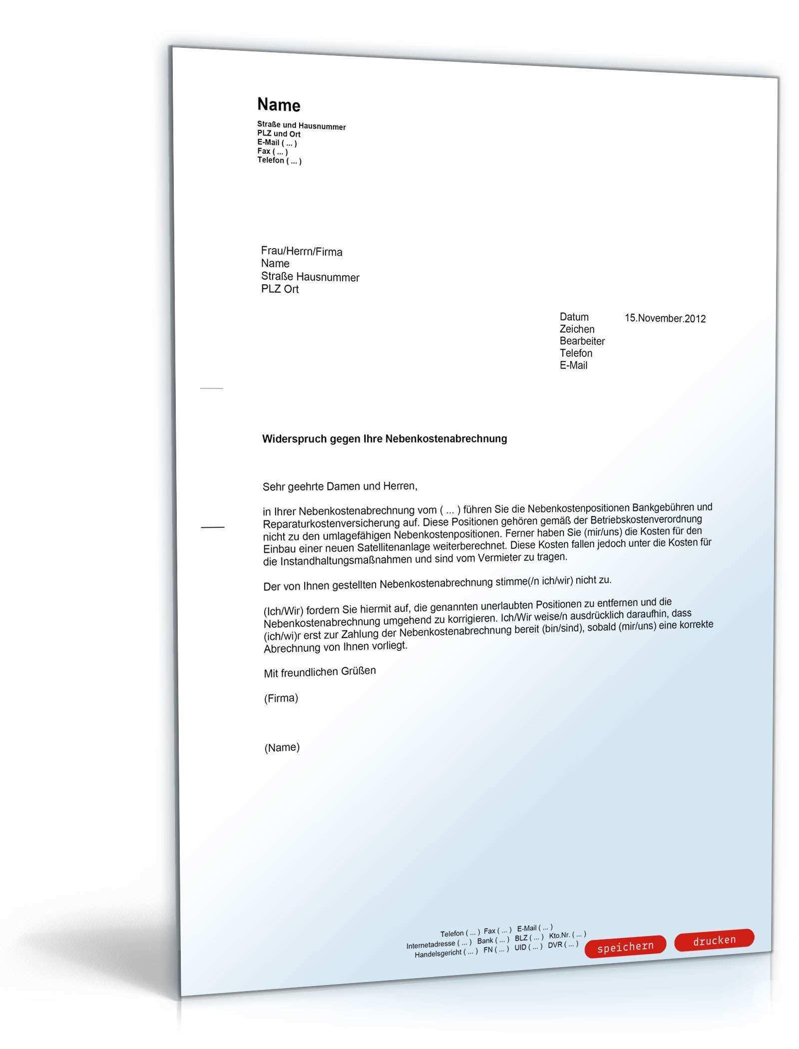 Widerspruch Nebenkostenabrechnung Musterbrief Zum Download