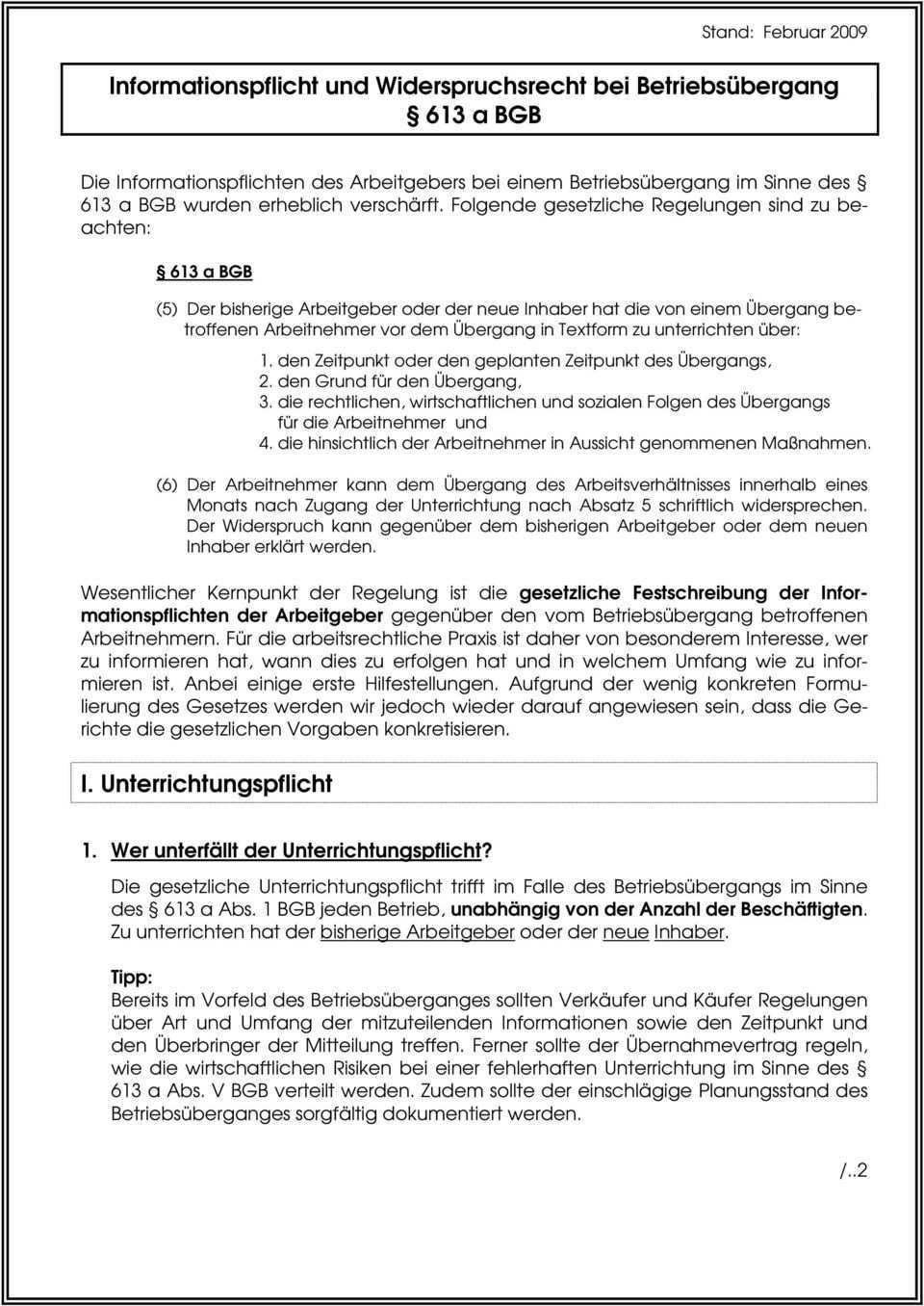 Informationspflicht Und Widerspruchsrecht Bei Betriebsubergang 613 A Bgb Pdf Free Download