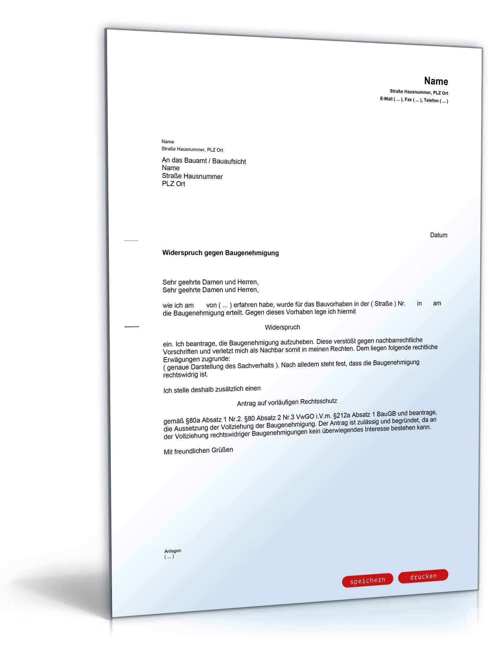 Widerspruch Gegen Baugenehmigung Muster Zum Download