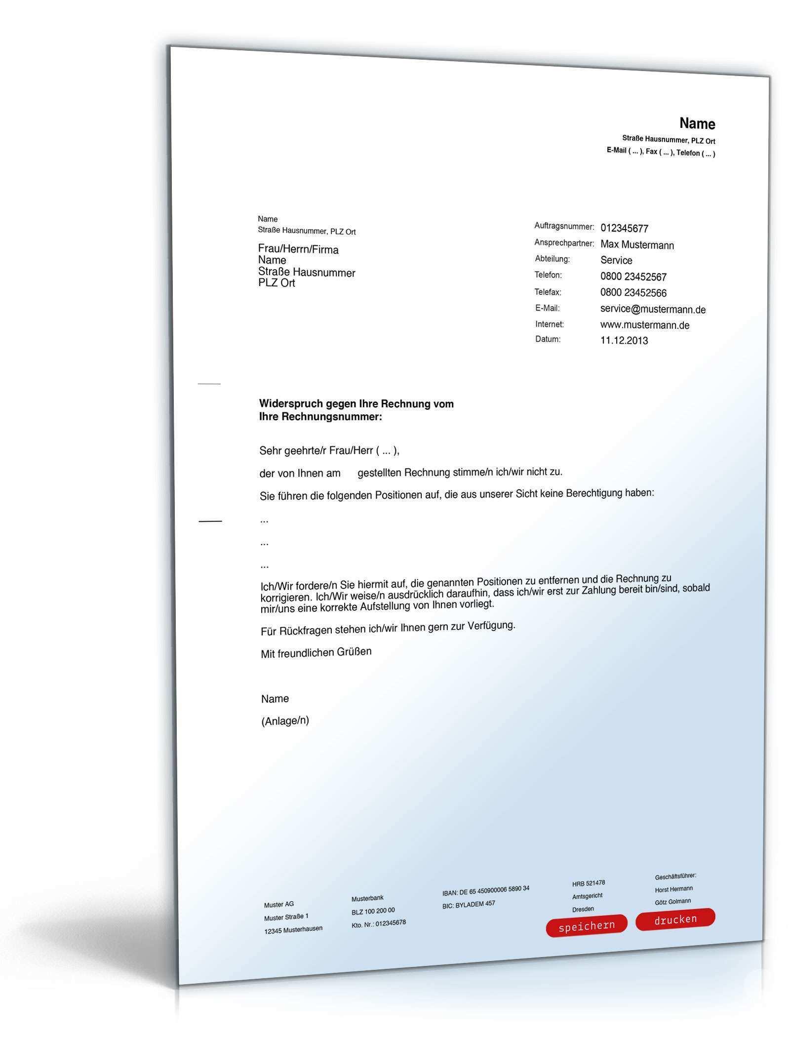 Widerspruch Rechnung Muster Zum Download Formblitz