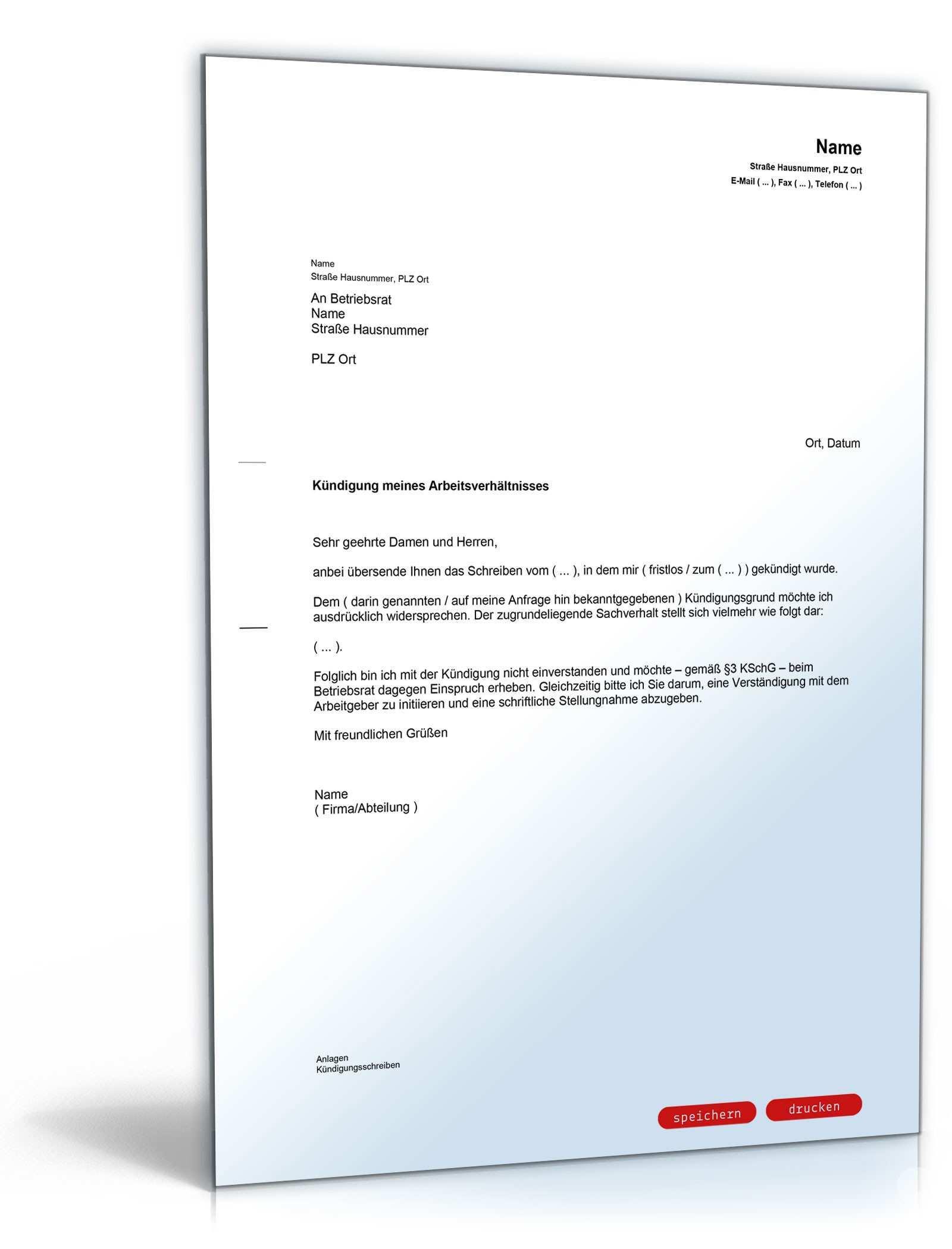 Einspruch Gegen Kundigung Beim Betriebsrat Muster Zum Download