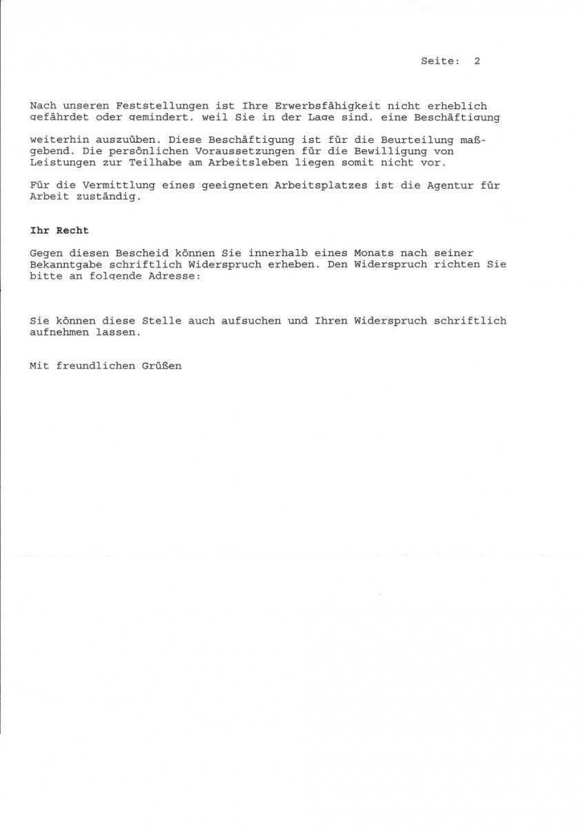 Widerspruch Leistungen Zur Teilhabe Am Arbeitsleben Erwerbslosenforum Deutschland