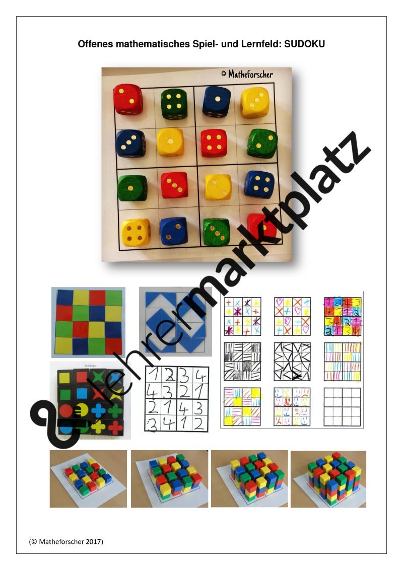 Offenes Mathematisches Spiel Und Lernfeld Sudoku Unterrichtsmaterial In Den Fachern Kita Mathematik Mathematik Sudoku Mathe