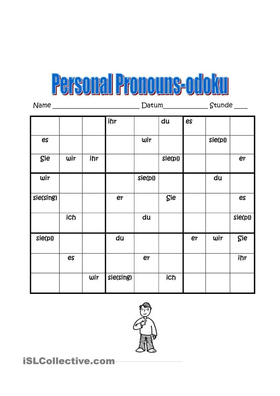 Personalpronomen Sudoku Personalpronomen Deutsch Lernen Personalpronomen Deutsch