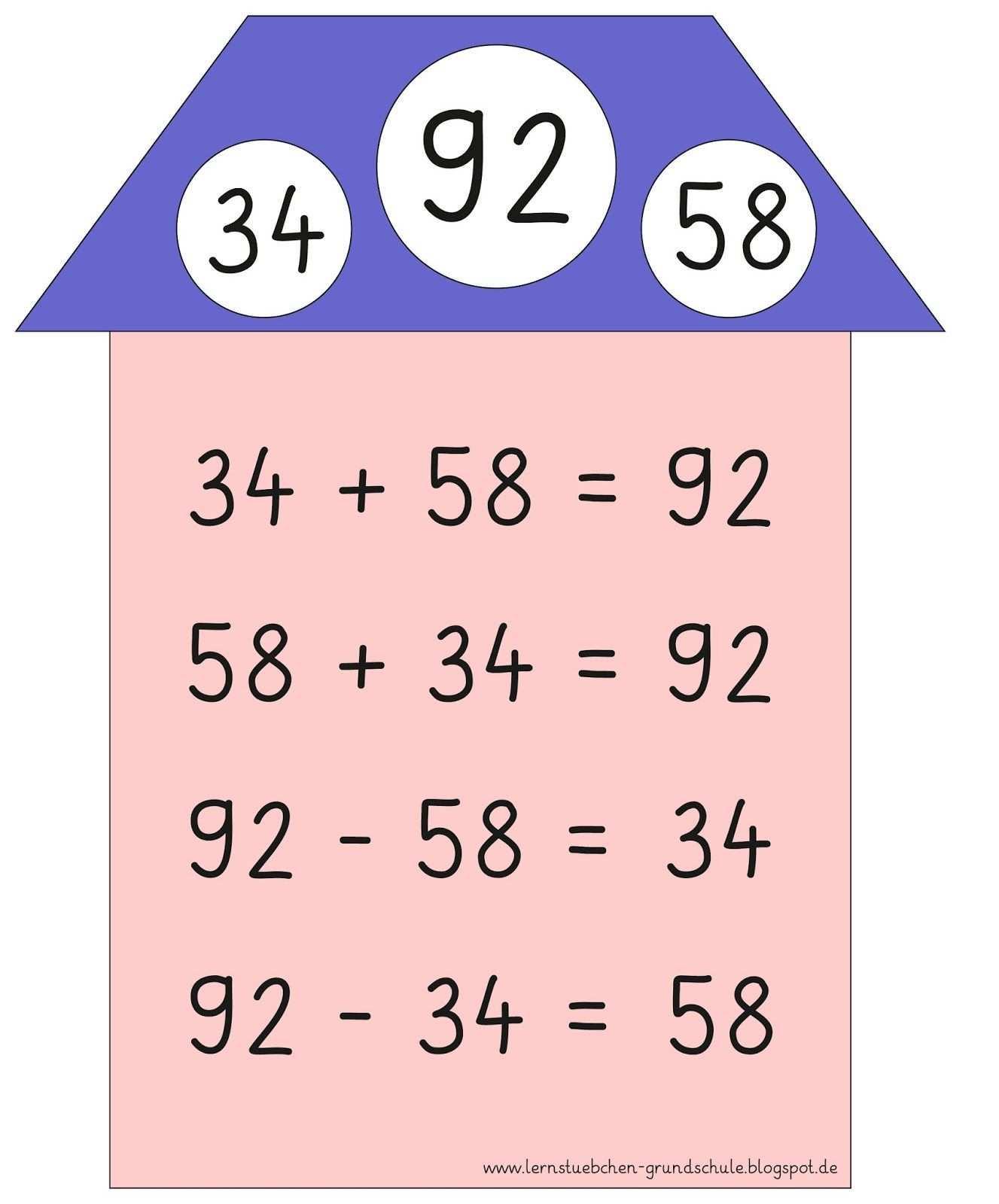 Lernstubchen Aufgabenfamilien 3 Grundschule Lernen Mathe