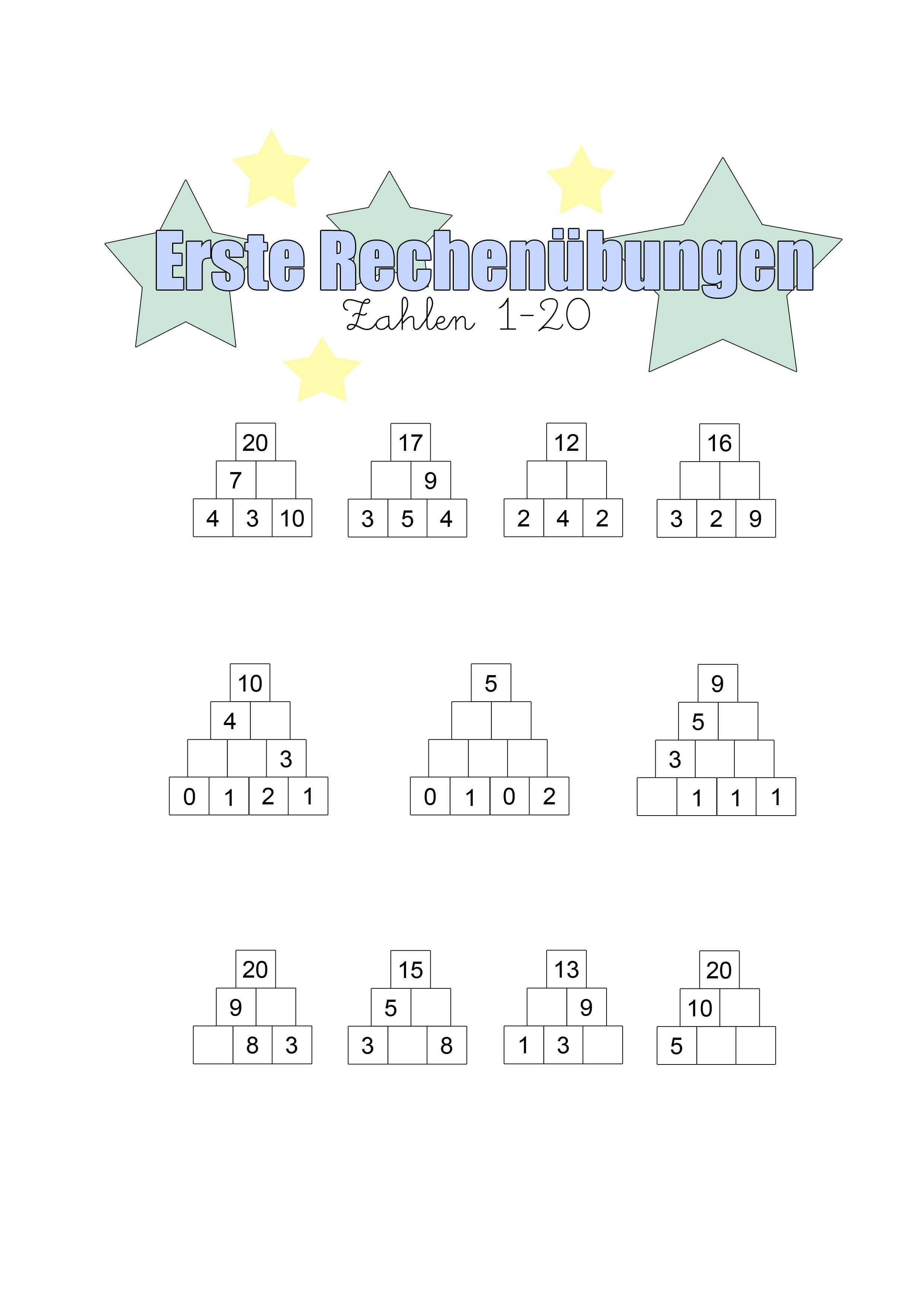 Erste Rechenubungen Zum Ausdrucken Familinchen Arbeitsblatter Grundschule Rechnen Arbeitsblatter Mathe