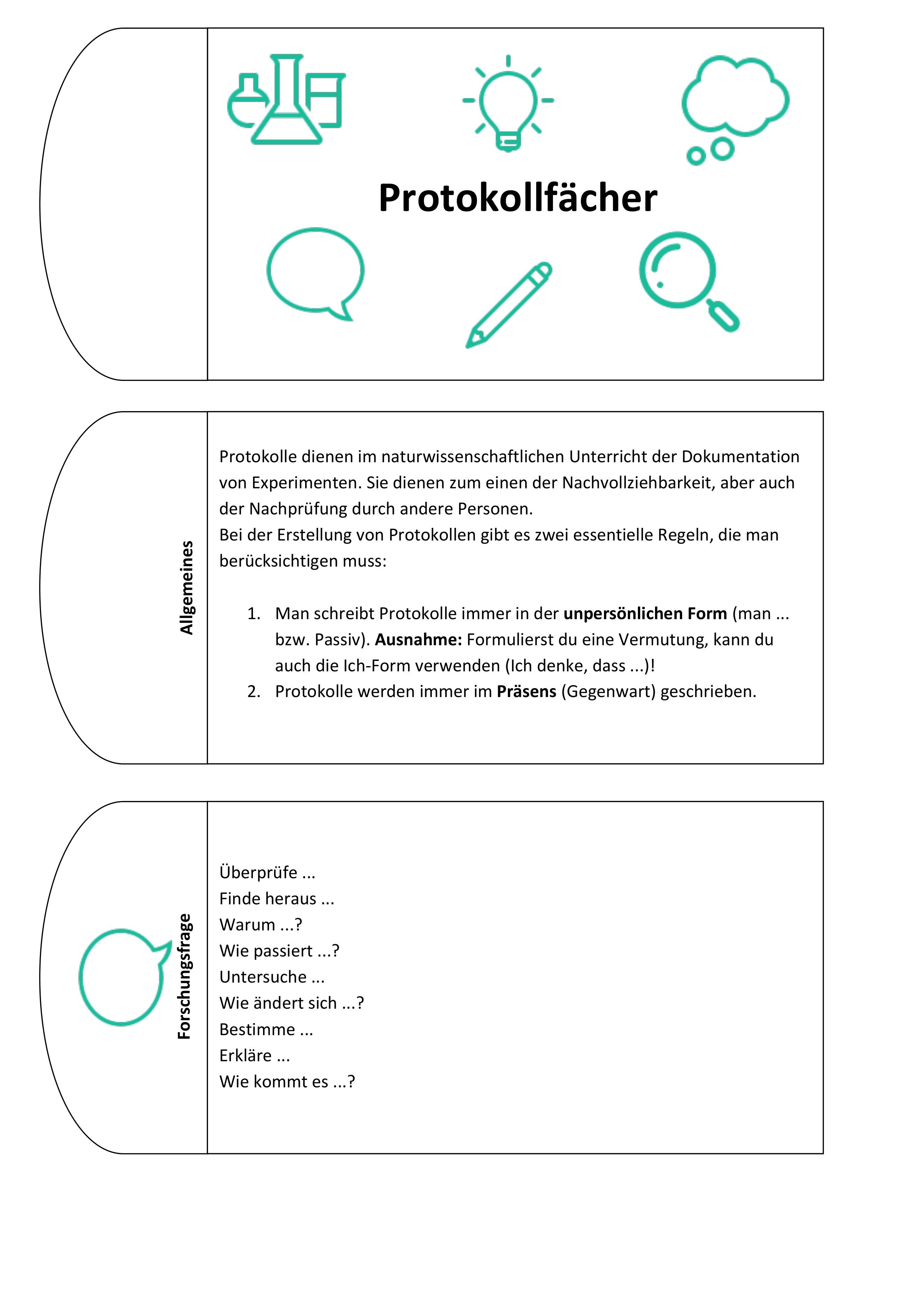 Protokollfacher Hilfestellung Fur Protokolle In Den Naturwissenschaftlichen Fachern Unterrichtsmaterial In Den Fachern Biologie Chemie Physik Wissenschaft Physik Hilfestellung