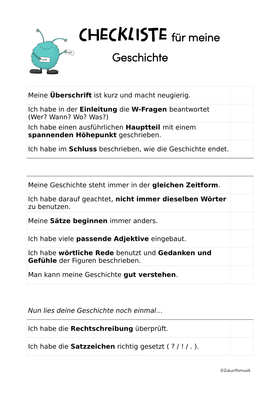 Checkliste Geschichte Schreiben Uberprufung Der Eigenen Geschichte Unterrichtsmaterial Im Fach Deutsch Geschichten Schreiben Geschichte W Fragen