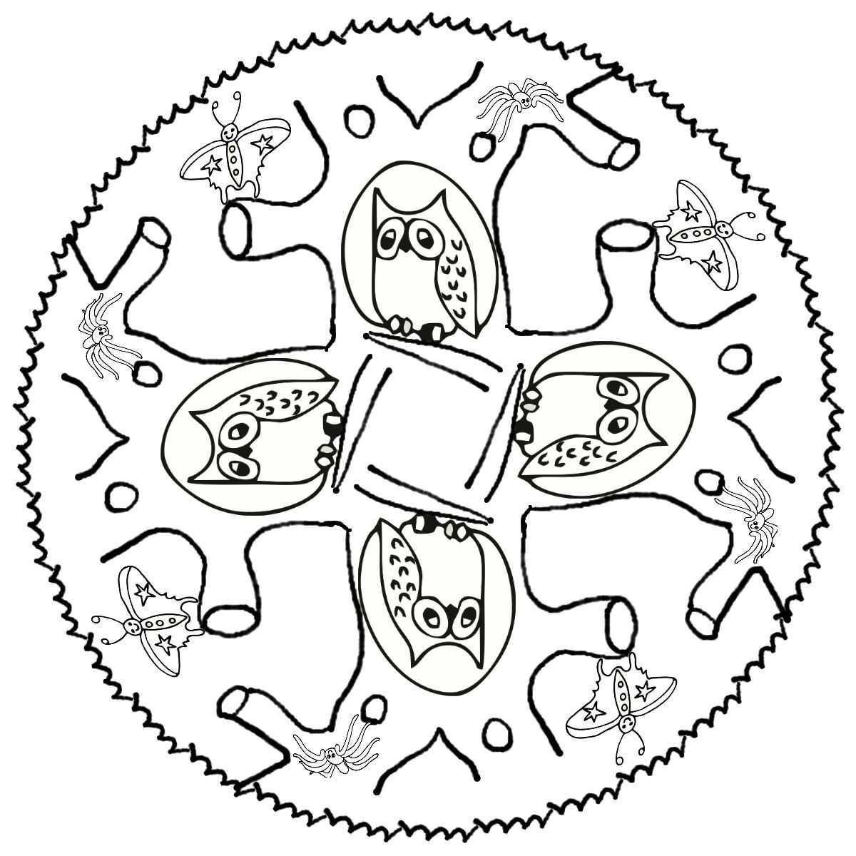 Mandala Uiltjes Mandala Tiere Ausmalbilder Eulen Ausmalbilder